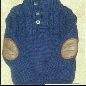 NEW Sweater Toddler Boy  knit w elbow Navy blue